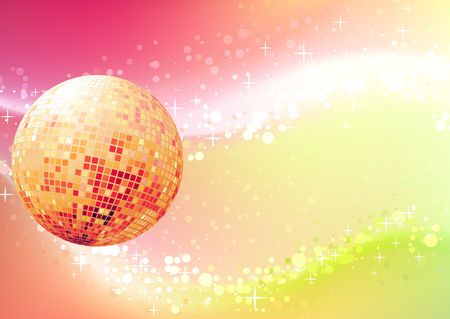 illustration of abstract party Background with glowing lights and disco ball illustration