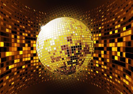 illustration of abstract party Background with glowing lights and disco ball