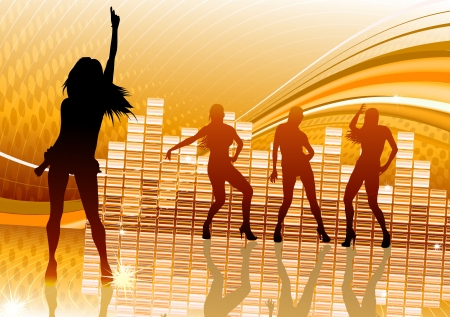 illustration of abstract party Background with dancing girl silhouettes illustration