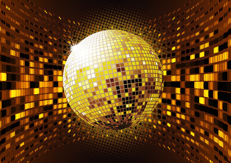 funky music: illustration of abstract party Background with glowing lights and disco ball