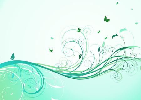 アクアマリン: 抽象的なターコイズ ブルーの花の背景のイラスト  イラスト・ベクター素材