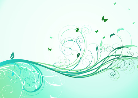 lush foliage: illustration of abstract turquoise floral Background