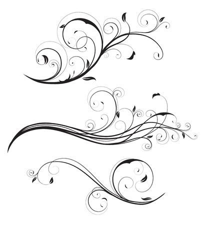 filigree: illustratie set wervelende bloeit decoratieve bloemen elementen  Stock Illustratie