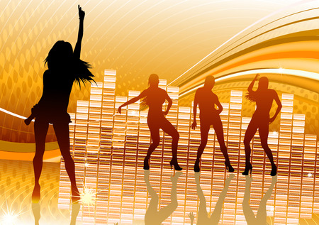 illustration of abstract party Background with dancing girl silhouettes Vector