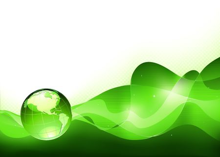 green planet: illustration of abstract green Background with Glossy Earth Globe