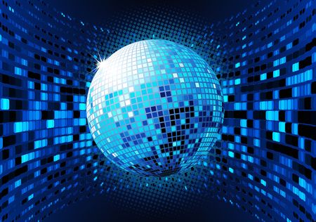 evening ball: illustration of abstract blue party Background with glowing lights and disco ball