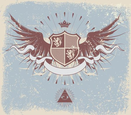 illustration of retro grunge heraldic shield or badge with wings and crown illustration