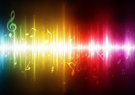 illustration of futuristic abstract glowing music background