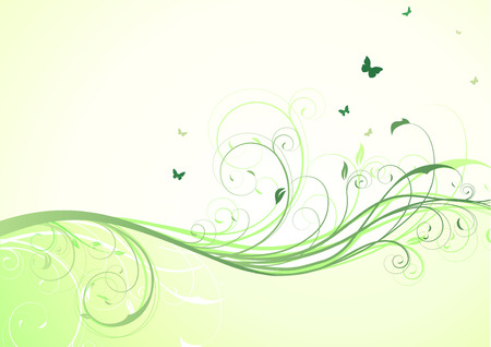 lush foliage:   illustration of abstract green floral Background