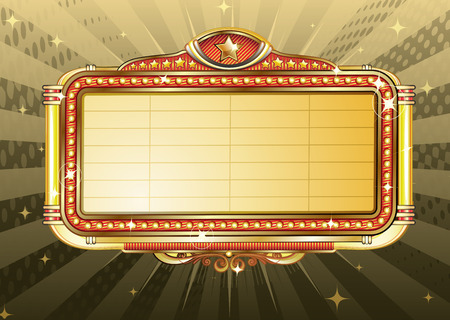 theaters:   illustration of retro illuminated Movie marquee Blank sign  Illustration
