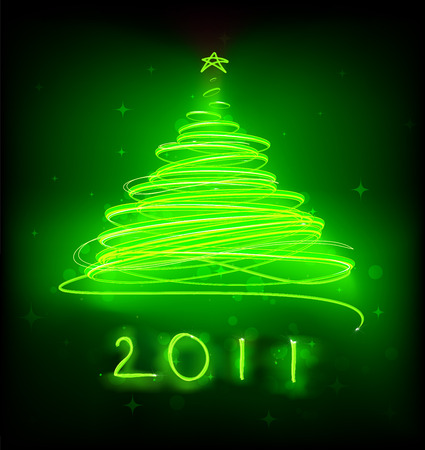 illustration of green Abstract Christmas tree on the black background. 2011. Vector