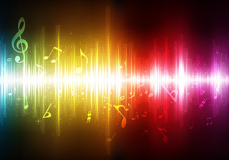 funky music:   illustration of futuristic abstract glowing music background