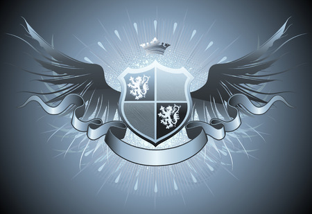 crown wings:   illustration of retro heraldic shield or badge with wings and crown Illustration