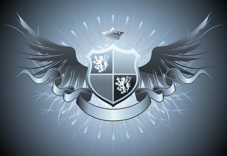 lion wings: Ilustraci�n del escudo her�ldico retro o insignia con alas y corona  Vectores