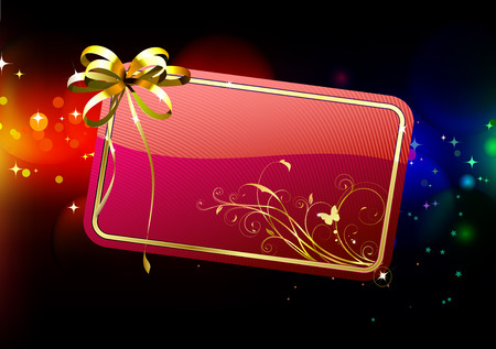 illustration of red decorated gift card with golden ribbon and bow on the abstract blurred magic neon light background  Stock Vector - 8189063