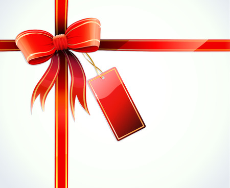 candid: Vector illustration of gift wrapped white paper with a red ribbon, bow and blank tag