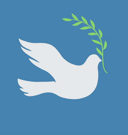 olive branch: Vector Concept illustration of Beautiful white dove in flight holding an Olive Branch