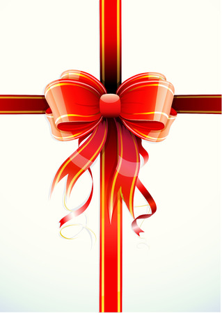 candid: Vector illustration of gift wrapped white paper with a red ribbon and funky bow