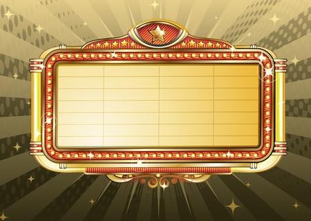 movie sign:  Ilustraci�n de retro Movie recuadro en blanco se�al luminosa  Foto de archivo