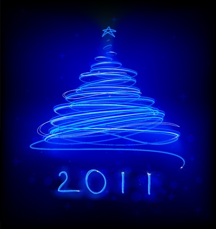 illustration of blue Abstract Christmas tree on the black background. 2011. Stock Illustration - 8285938