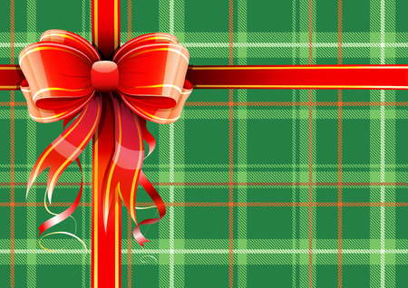 illustration of green Scottish plaid gift wrapping with red ribbon and bow  Vector