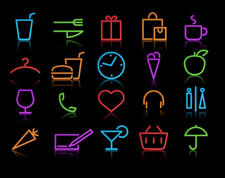 hotel reception:   illustration of color neon original style life Icon Set Illustration