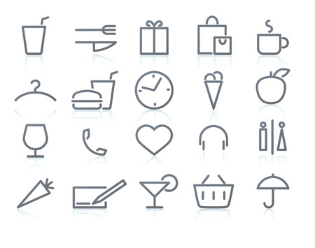 illustration of color neon original style life Icon Set Stock Vector - 8411365