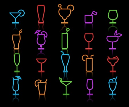 illustration of neon original color Alcohol Glasses with different styles illustration