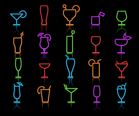 liquor: illustration of neon original color Alcohol Glasses with different styles
