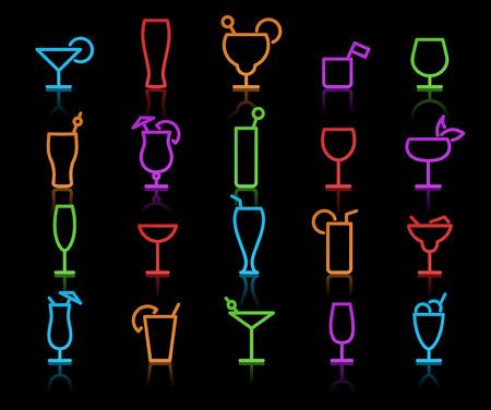 illustrazione del colore originale al neon bicchieri di alcol con stili diversi Vettoriali