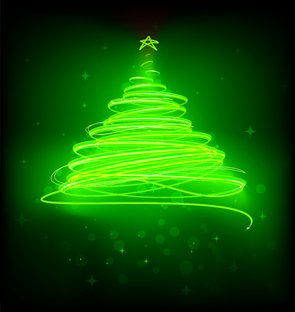 illustration of green Abstract Christmas tree on the black background.  Vector
