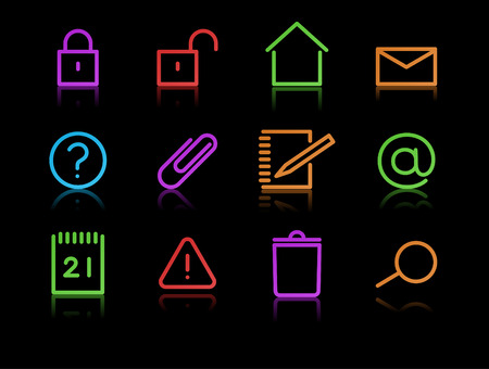 Vector set of elegant neon simple icons for common computer functions Stock Vector - 8507173