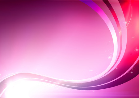 illustration of pink abstract background made of light splashes and curved lines Vector