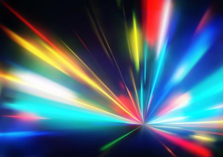 Ilustración vectorial de fondo abstracto con rayos de luz de neón mágica borrosa color