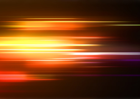 effects of lighting: Vector illustration of abstract background with blurred magic neon orange lights