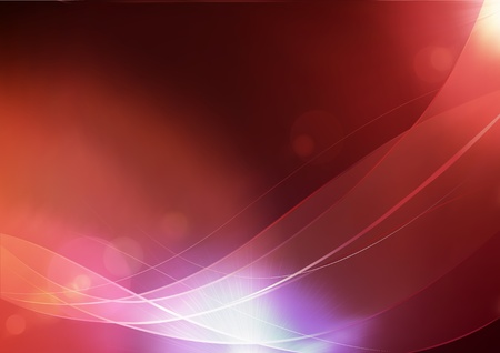illustration of red abstract background made of light splashes and curved lines illustration