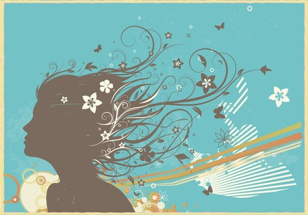 Vector illustration of grunge retro background with young womans face and floral elements illustration