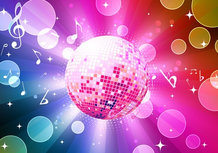 illustration of abstract party Background with glowing lights and disco ball Stock Illustration - 8820186