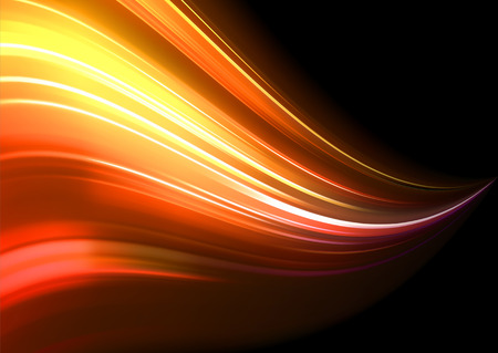 Vector illustration of neon abstract background made of blurred magic orange light curved lines Vector