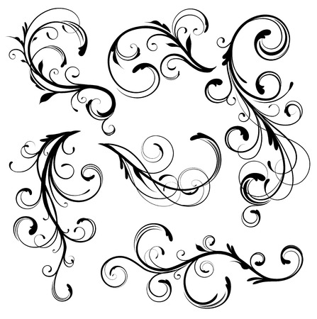 Conjunto de ilustración vectorial de remolinos florece elementos decorativos de floral