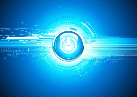 cool off: Vector illustration of abstract hi-tech Background with Glossy power button