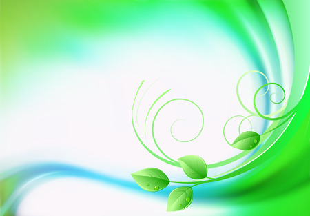green swirl: Vector illustration of  fresh spring abstract background with green leaves