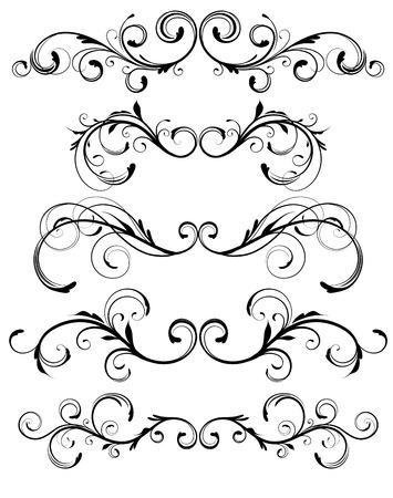scroll?: Conjunto de vectores de reglas de p�gina floral ornamentos decorativos