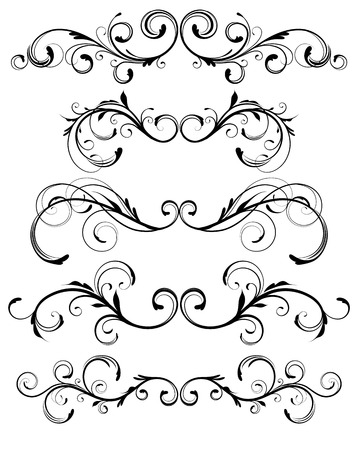 flourish: Vector set of floral decorative ornament page rules