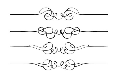 embellishments: Vector set of decorative swirl ornament page rules Illustration