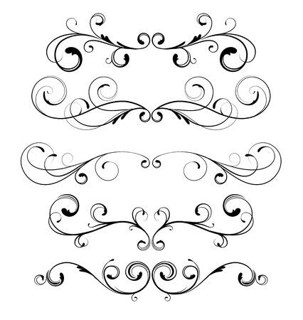 grecas: Conjunto de vectores de reglas de p�gina floral ornamentos decorativos