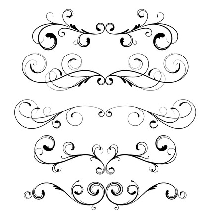 border line: Vector set of floral decorative ornament page rules