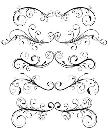 Conjunto de vectores de reglas de página floral ornamentos decorativos