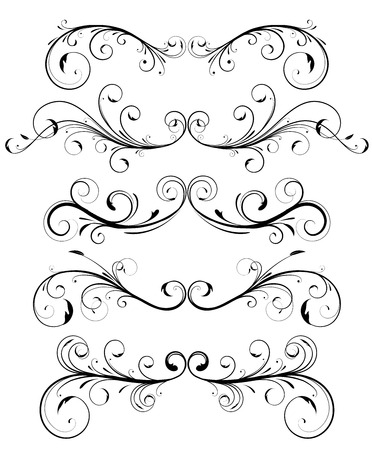 tendrils: Vector set of floral decorative ornament page rules