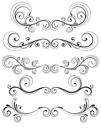 accents: Conjunto de vectores de reglas de p�gina floral ornamentos decorativos